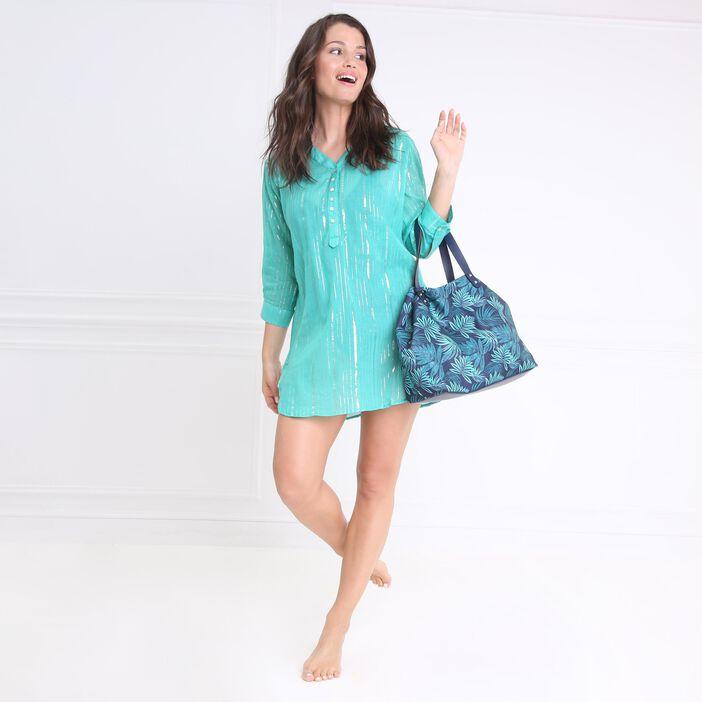 Tunique de plage manches 3/4 vert turquoise femme