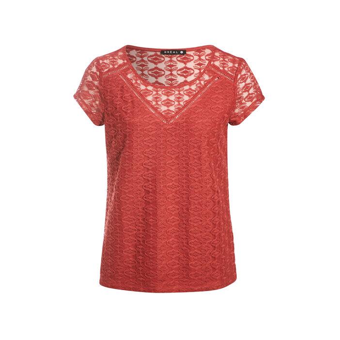 T-shirt manches courtes bordeaux femme