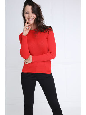 Pull manches longues ajuste rouge femme
