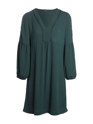 Robe evasee manches bouffantes vert fonce femme