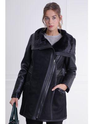 Manteau fourre effet suedine noir femme