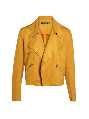 Veste cintree aspect suede jaune or femme