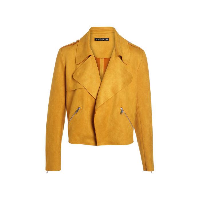 Veste cintrée aspect suédé jaune or femme
