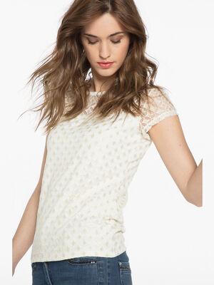 T shirt uni maille brillante ecru femme