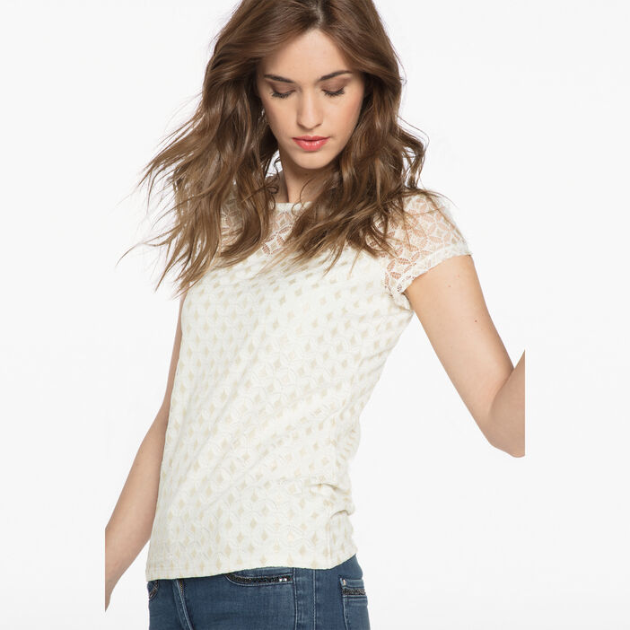 T-shirt uni maille brillante ecru femme
