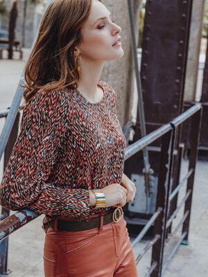Blouse manches longues imprimee multicolore femme
