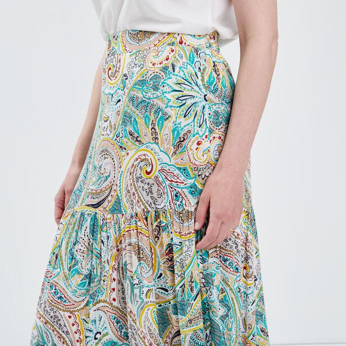 Jupe longue évasée multicolore femme