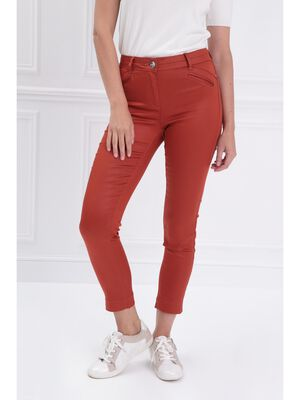 Pantalon ajuste enduit orange fonce femme