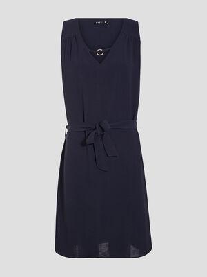 Robe droite ceinturee bleu marine femme