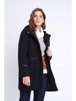 Manteau droit a capuche bleu marine femme