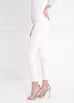 Pantalon avec bande brodee rose poudree femme