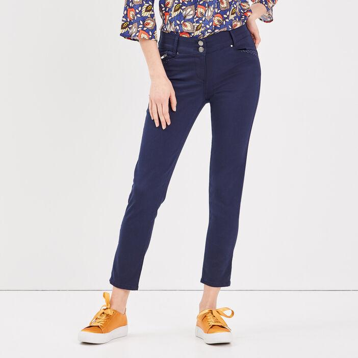 Pantalon ajusté détails clous bleu marine femme