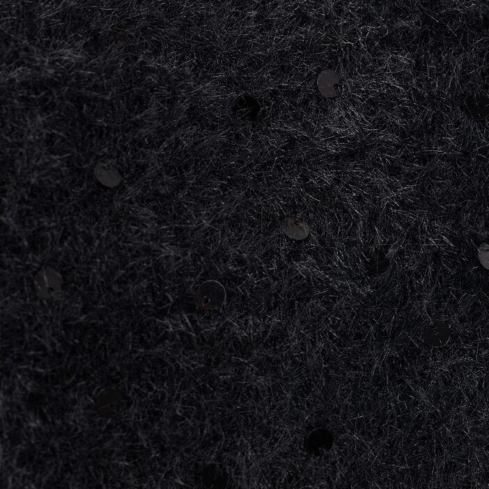 Pull manches longues à sequins noir femme