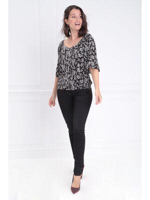 Pantalon ajuste 4 poches noir femme