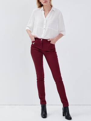 Pantalon ajuste bordeaux femme