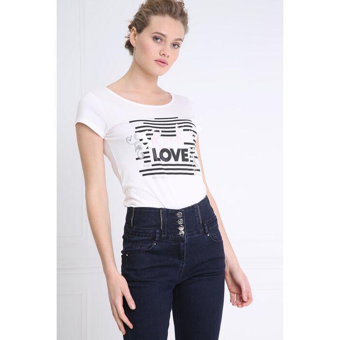 T-shirt manches courtes imprimé avant ecru femme