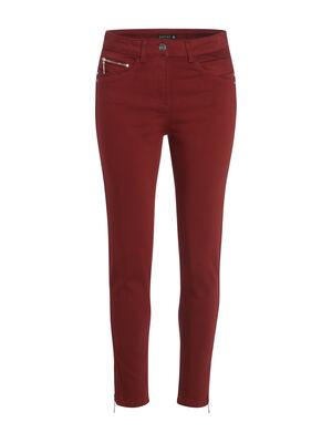 Pantalon ajuste taille haute rouge fonce femme