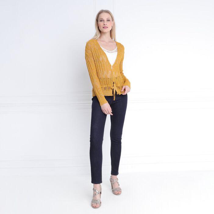 Gilet manches longues jaune or femme