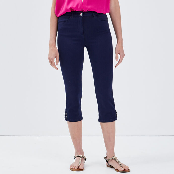 Pantacourt ajusté taille standard bleu marine femme