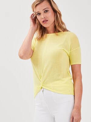 Pull manches courtes noue jaune fluo femme