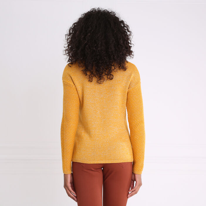 Pull col rond maille côtelée jaune or femme