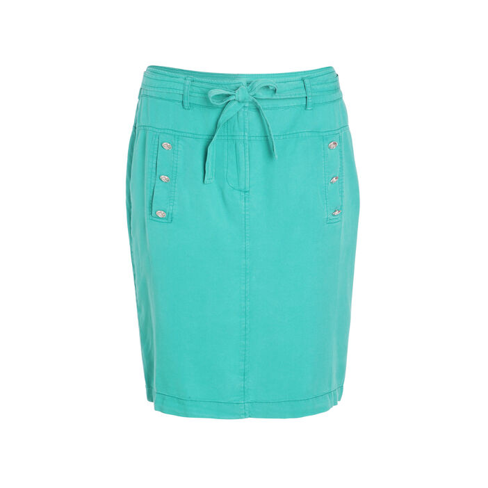 Jupe droite poches à boutons vert femme