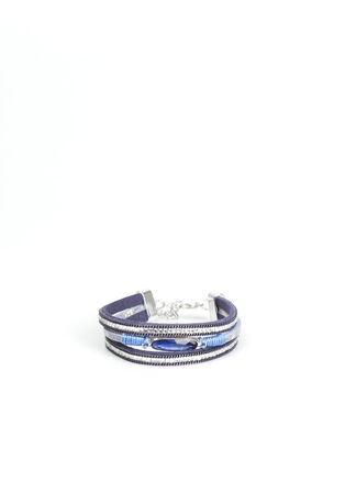 Bracelet manchette multirangs bleu fonce femme
