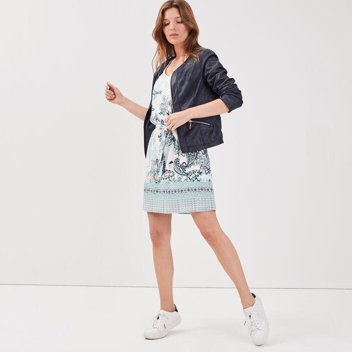 Veste droite zippée bleu marine femme
