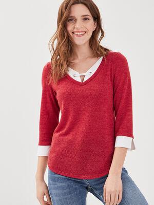 T shirt manches 34 2 en 1 bordeaux femme