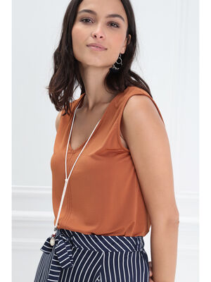 898a6e4e12961 Debardeur bretelles larges orange fonce femme
