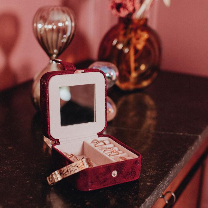Boîte à bijoux avec miroir rose framboise femme