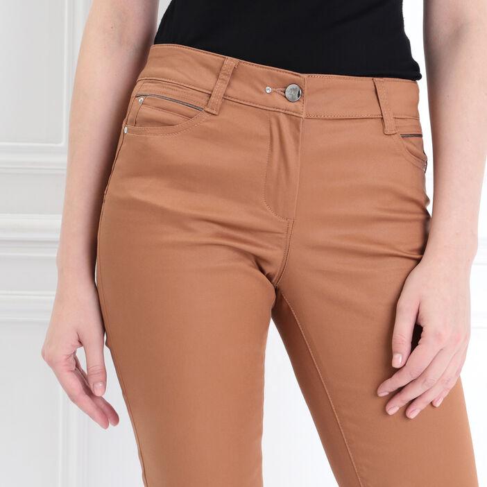 Pantalon ajusté liserés camel femme