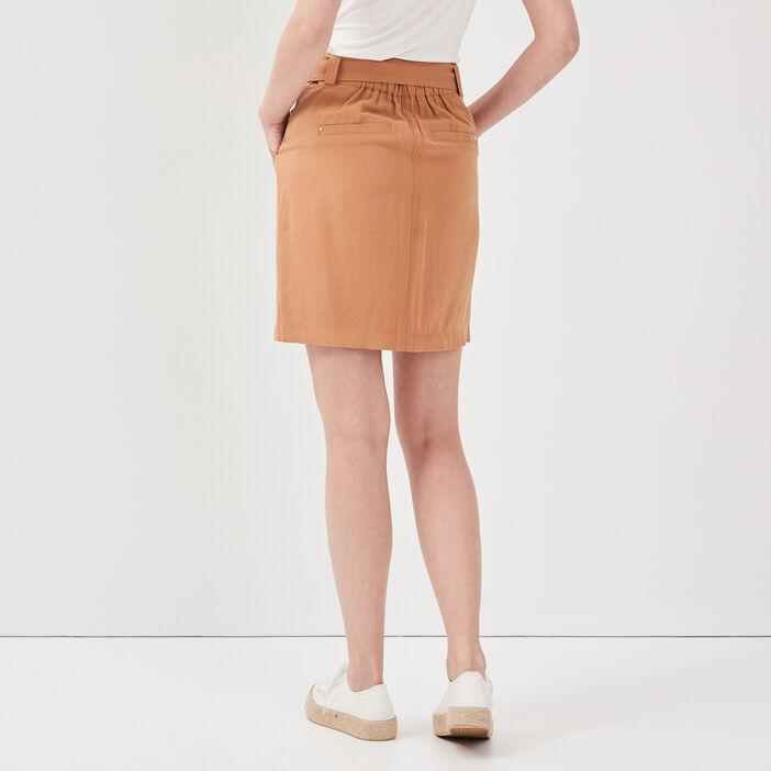 Jupe droite ceinturée marron clair femme