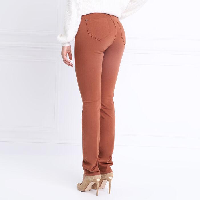 Pantalon ajusté détails zip marron cognac femme
