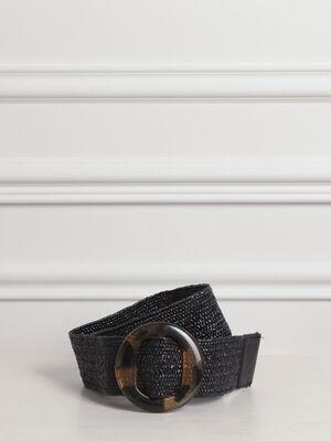 Ceinture large boucle en resine noir femme