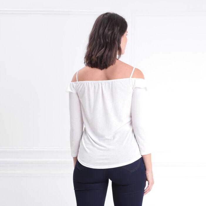 T-shirt manches 3/4 col bardot ecru femme