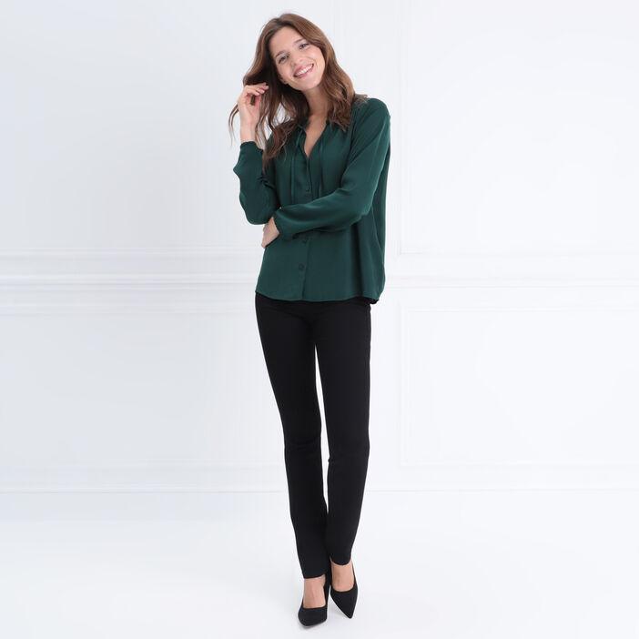 Chemise manches longues vert foncé femme