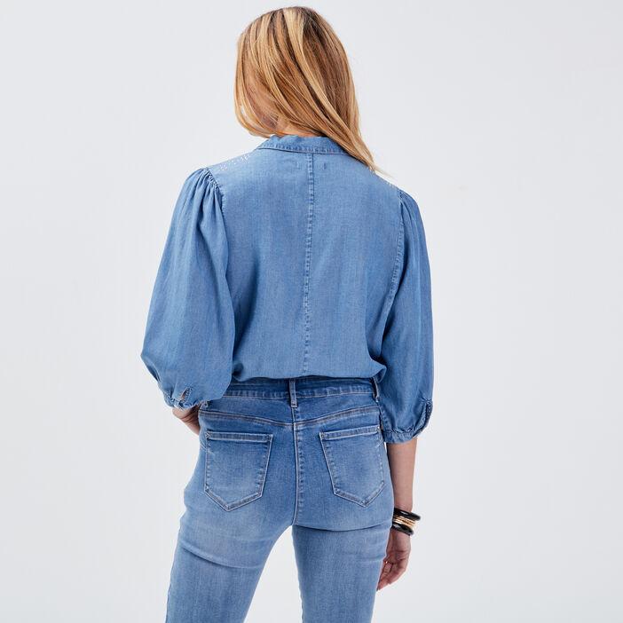 Chemise manches 3/4 en jean denim stone femme