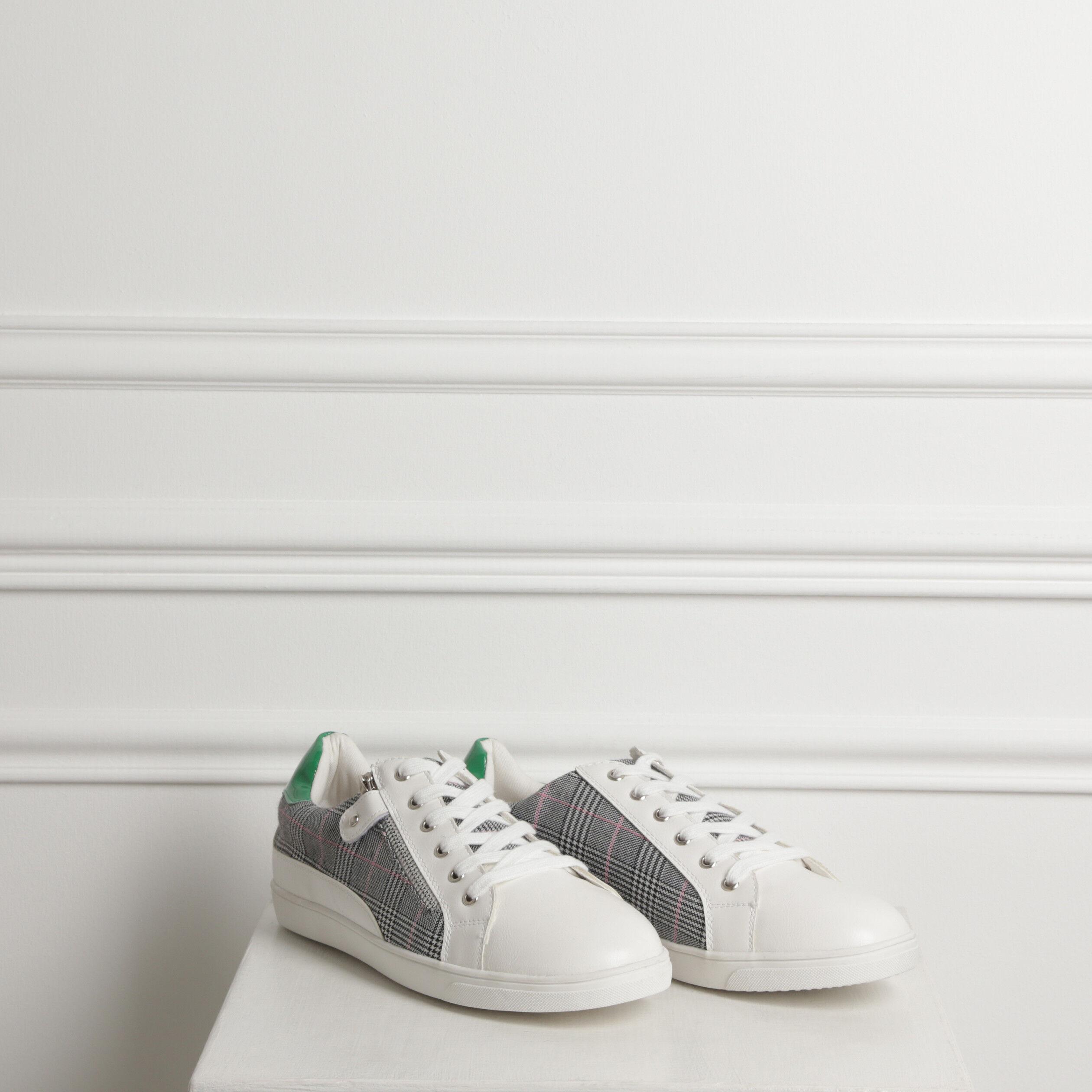 Baskets basses bimatières blanc femme | Bréal