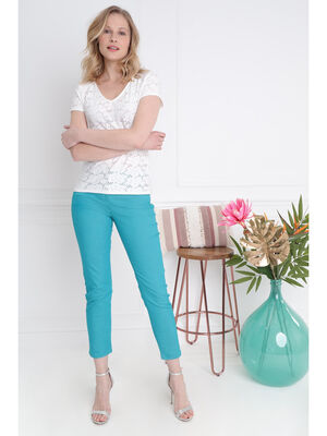 Pantalon taille standard vert turquoise femme