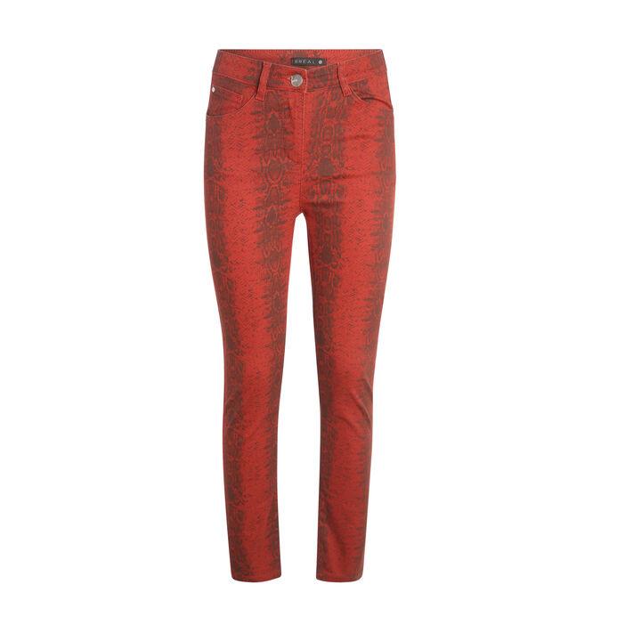 Pantalon imprimé serpent orange foncé femme