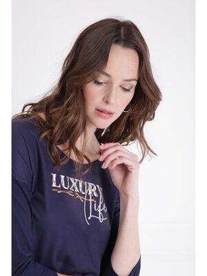 T shirt manches 34 strass bleu fonce femme