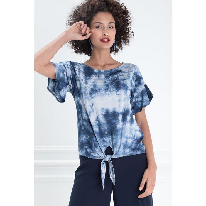 T-shirt manches courtes noué bleu femme