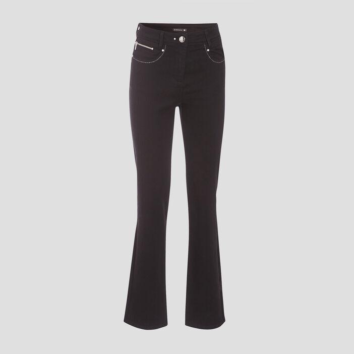 Pantalon évasé taille haute noir femme