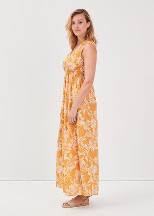 Robe longue evasee smockee orange clair femme