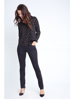 Pantalon taille haute ajuste pierres noir femme