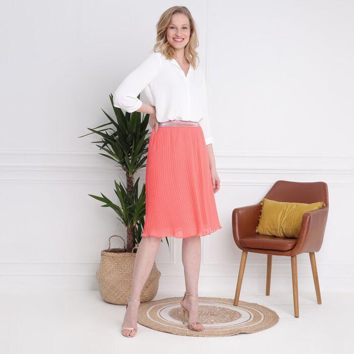 Jupe fluide taille standard orange corail femme