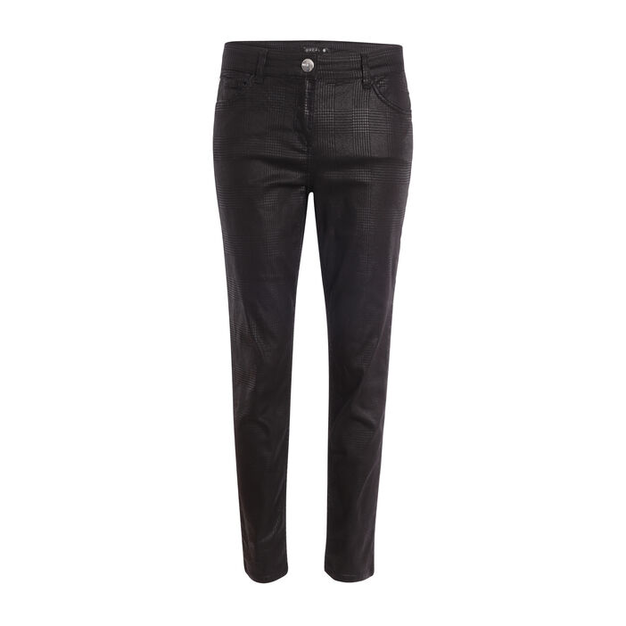 Pantalon taille basculée coupe ajustée noir femme