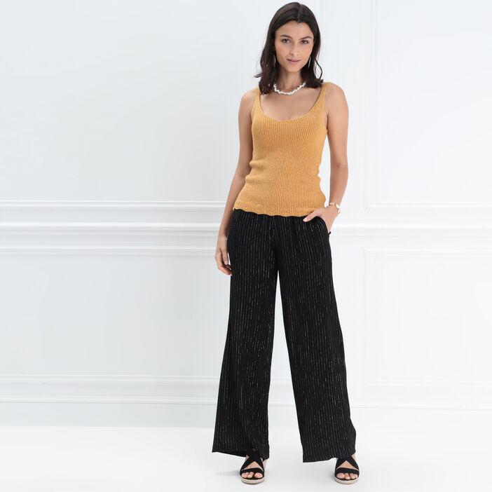 San Francisco 7dc6f 1d350 Pantalon large taille haute noir femme | Bréal
