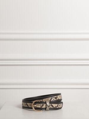 Ceinture bande python noir femme